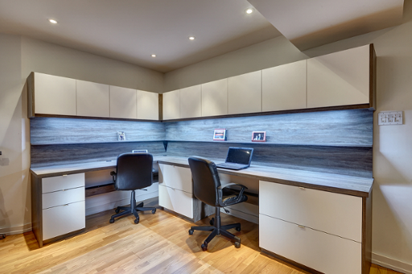 Toronto wall units custom built ins wardrobes entertainment l shaped custom office with led strip lighting and file drawers in southwester woodgrain and white super matte fronts mozeypictures Choice Image