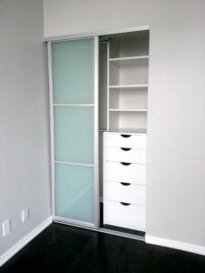 closet drawers, glass doors