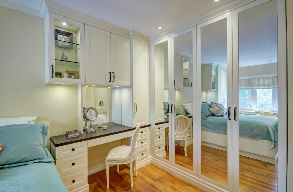 Antique white master bedroom wardrobe