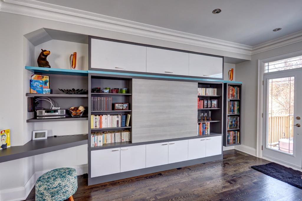 wall unit, entertainment center, media cabinet, custom cabinets, desk, work surface, interior design, Toronto