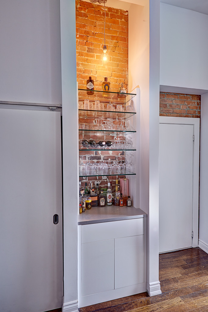 dining room, condo, bar, linen closet, glass shelving