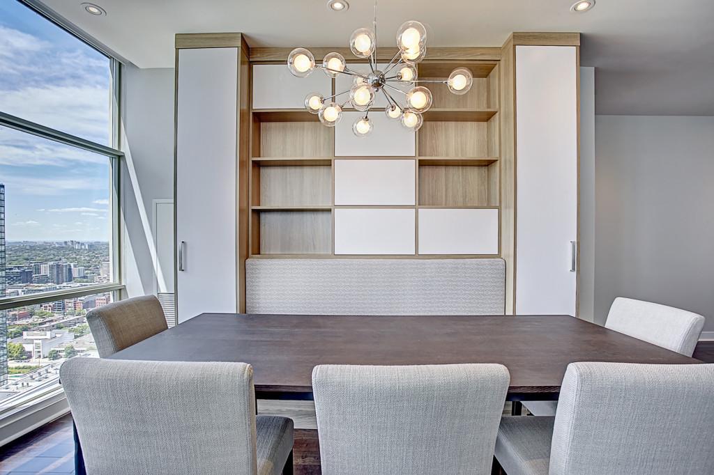 wall unit, custom cabinet, custom cabinetry, bench, built in, Toronto, condo living