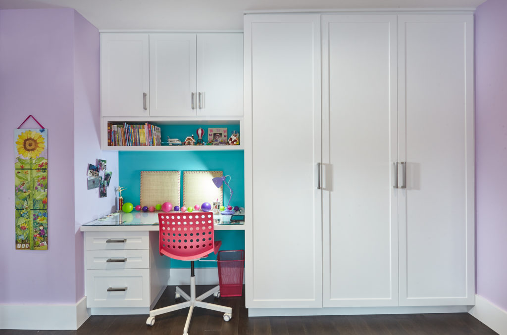 builtin, wardrobe, armoire, closet, desk, factory painted