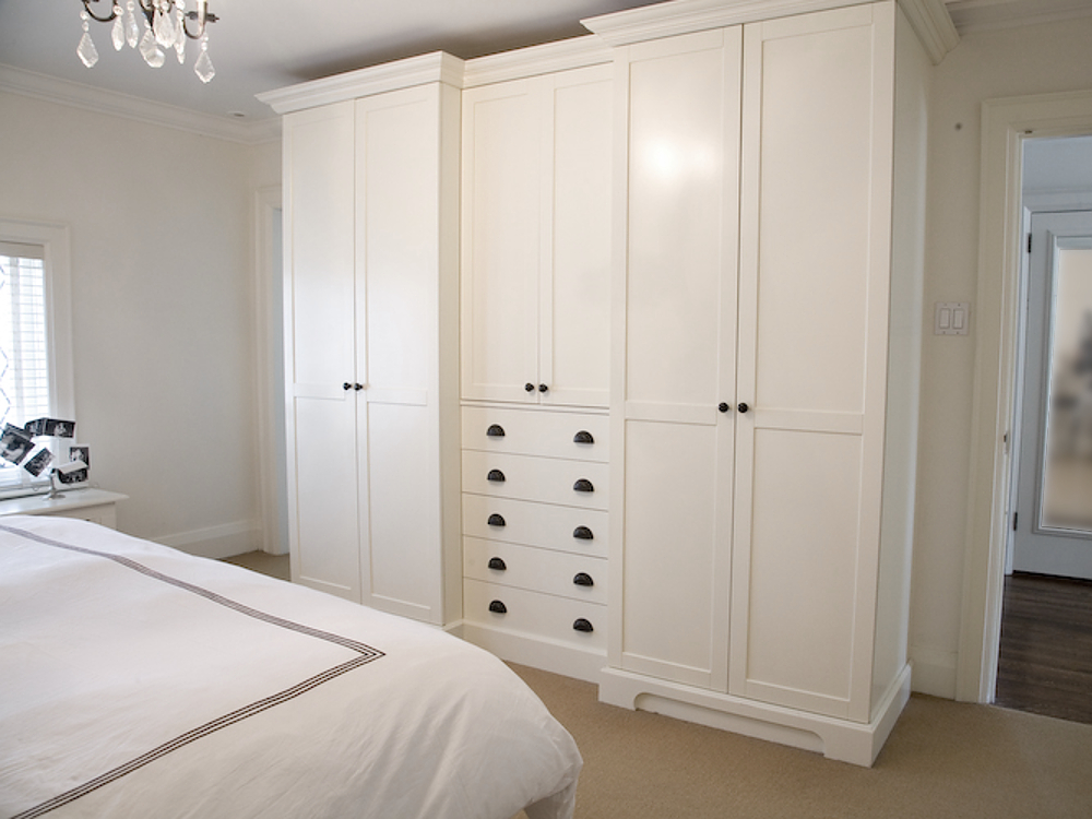 armoire, library pulls, bronze hardware, crown moulding